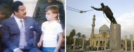 Saddam with child and statue falling